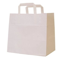 Flat Handle White Patisserie Carrier 260mm x 175mm x 245mm