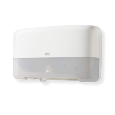 TORK 555500 Twin Mini Jumbo Toilet Roll Dispenser, White