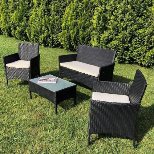 Natalia 4 Seater Rattan Garden Set - Black 3