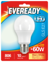 EVEREADY 9.6W (60W) E27 LED GLS 806 LUMENS