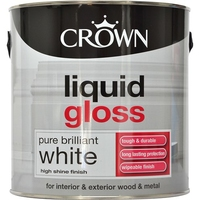 CROWN LIQUID GLOSS PAINT BRILLIANT WHITE 2.5 LTR