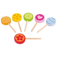 wooden toy set of lollipops