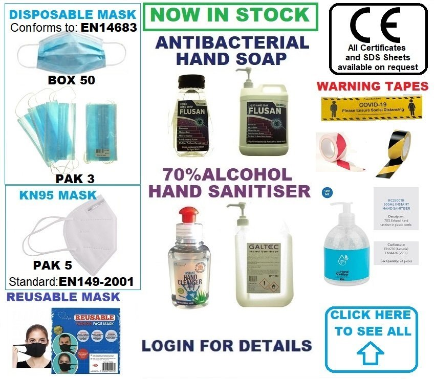 COVID19 - PPE, SOAPS, SANITISER, TAPES, ETC.