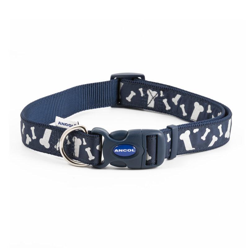 Ancol Paw and Bone Adjustable Reflective Blue Dog Collar 45 - 70cm