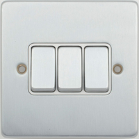 Schneider Ultimate Low Profile 3gang switch Brushed Chrome with White Insert | LV0701.0003