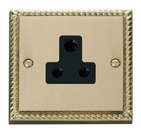 Click Deco Georgian Cast Brass with Black Insert 5Amp Socket | LV0101.0039