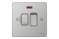 Schneider Ultimate Low Profile Fused Spur switched with neon Polished Chrome with White Insert | LV0701.0050