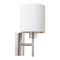 EGLO Satin Nickel and White Shade Wall Light Round IP20 | LV1902.0109