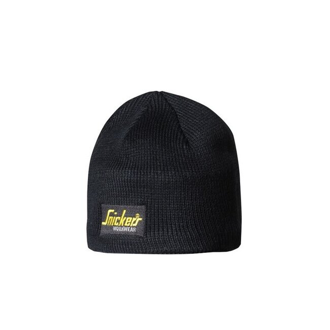SNICKERS 9084 BLACK LOGO BEANIE HAT