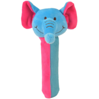 Blue and pink elephant Squeakaboo toy for babies