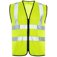Supertouch Hi-Visibilty Vest - Black Binding - Zip, Yellow