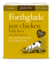 Forthglade Adult Dog Tray Just Chicken with Liver 395g x 18