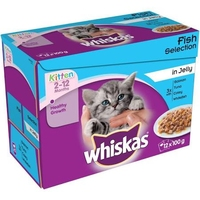 Whiskas Pouches - Kitten Fish Selection Jelly 100g 12-Pack  x 4