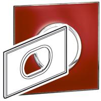Arteor (British Standard) Plate 3 Module 2 Gang Round Mirror Red | LV0501.2730