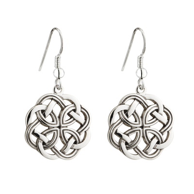 RHODIUM CELTIC KNOT DROP EARRINGS