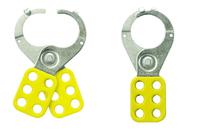 Master Lock Safety hasp, 38mm diameter jaws, yellow with locking tabs