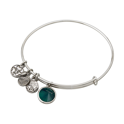 RHODIUM BIRTHSTONE CHARM BANGLE - MAY