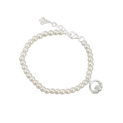 RHODIUM PLATED PEARL CLADDAGH BRACELET