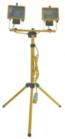 TWIN 500W 110V PORTABLE TUNGSTEN HALOGEN TRIPOD FLOODLIGHT YELLOW