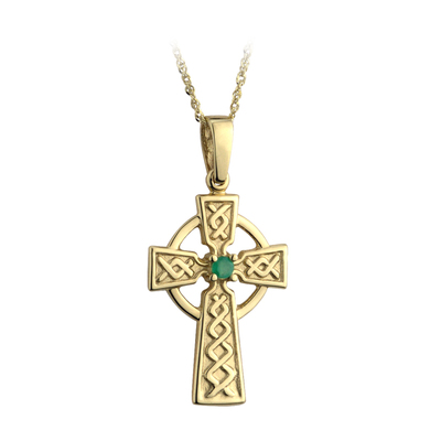 9K EMBOSSED EM.SET CELTIC CROSS