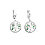 14K WHITE GOLD DIAMOND & EMERALD TREE OF LIFE DROP EARRINGS S34091 FROM SOLVAR