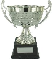 30cm Silver Chrome Cup on Black Base