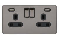 Ultimate 2G  switched socket with 2xUSB Black Nickel