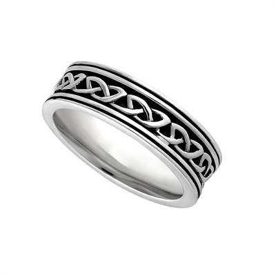 LADIES SILVER OXIDISED CELTIC KNOT RING