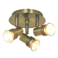 Decco Antique Brass Circular 3 Light Spotlight