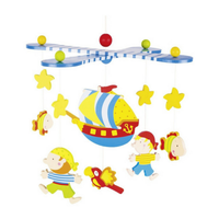 Colourful wooden pirate mobile for above a crib