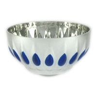 D90mm Plastic Bowl (Silver with Blue)