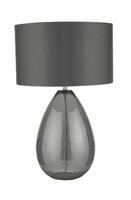 Rain Table Lamp, Smoked Glass Complete with Grey Shade | LV1802.0143