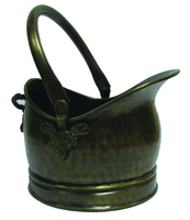 Antique Brass Coal Hod W/Floral Motive