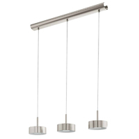 Matt Nickel 3 Bar Pendant,  LED Wam White | LV1902.0002