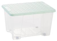 Rattan Lid Storage Box 15L  With Wheels Green