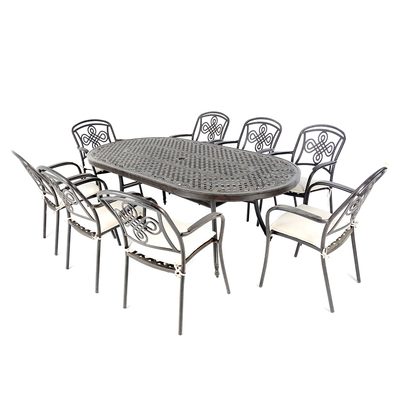 Brompton Cast Aluminium 8 Seater Oval Set With Cushions and FREE Ice Bucket Table