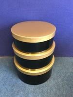 HAT BOX BLACK SOLID GOLD LID SET OF 3 BOXES
