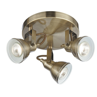 Focus Antique Brass 3 Light Ceiling Spotlight With Round Plate