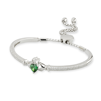 S/S CZ CLADDAGH DRAW STRING BANGLE