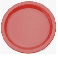 "Large Narrow Rimmed Plate Red Polycarbonate 9"" 23cm"