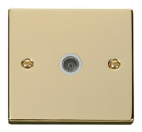Click Deco Victorian Polished Brass with White Insert Single Coaxial Socket | LV0101.0168
