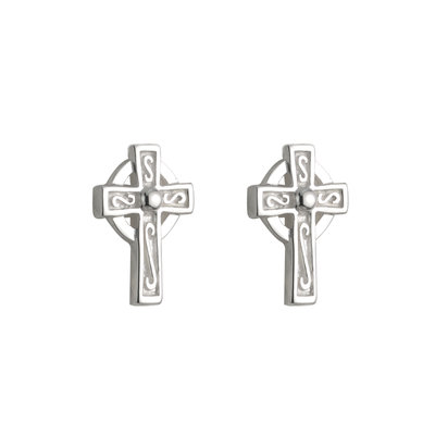 SILVER SMALL CROSS STUD EARRINGS