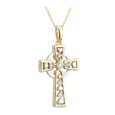 9K CZ CELTIC CROSS PENDANT(BOXED)