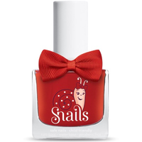 Red kids-safe nail polish that washes off with soap and water.