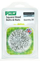 Aluminium Square Head Nuts & Bolts (Pack 20) - GH004