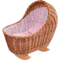 Toy wicker rocking cradle with floral bedding