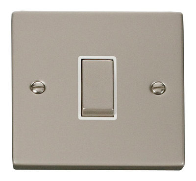 Click Deco Victorian Pearl Nickel with White Insert 1 Gang 2 Way 'Ingot' Switch   LV0101.0124