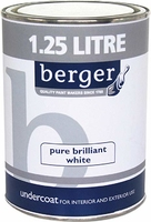 BERGER UNDERCOAT PAINT BRILLIANT WHITE 1.25 LTR