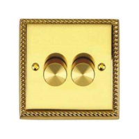 BRASS HERITAGE 2 GANG  250W DIMMER