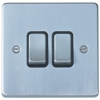 Schneider Ultimate Low Profile 2gang switch Brushed Chrome with Black Insert | LV0701.0020